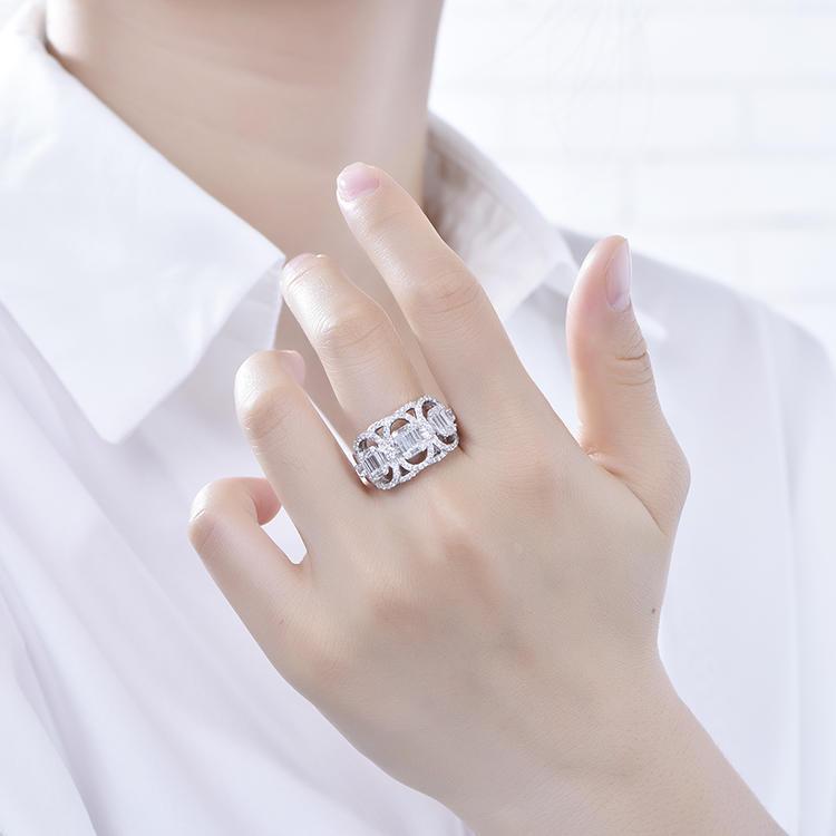 Latest Fashion Fancy Wedding Rings Net Shape Pave Cube Zircon Ring Designs