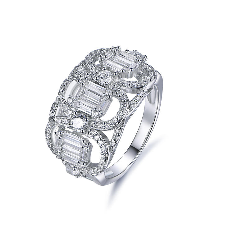 Latest Fashion Fancy Wedding Rings Net Shape Pave Cube Zircon Ring Designs