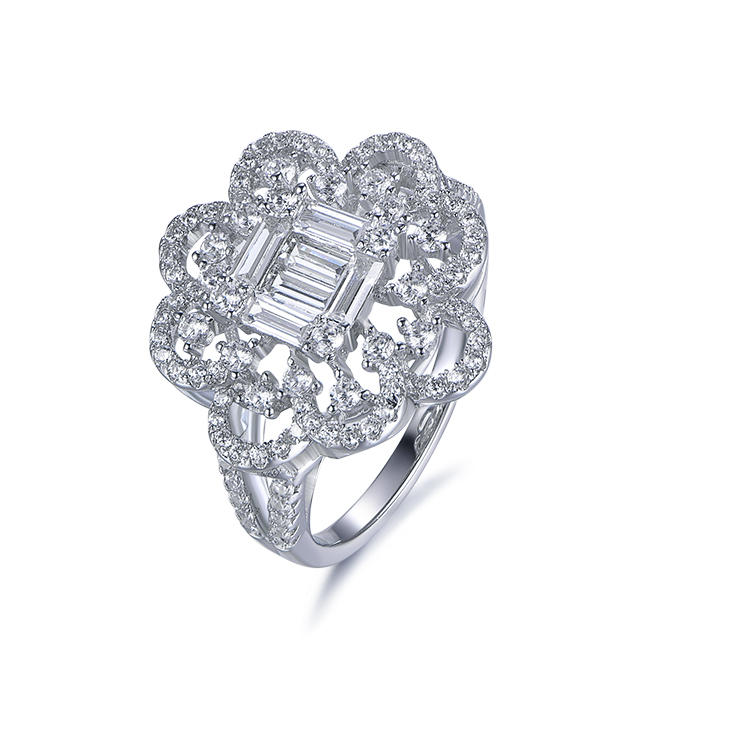 New Arrival Retro White Gold Plated Simple Pave Setting Cubic Zirconia Flower Ring