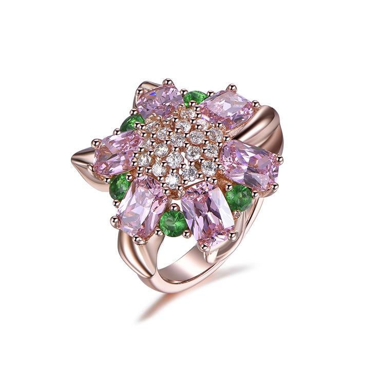 The Factory Offers Fashionable And Noble Flower Shaped Zircon Silver Rings At A Preferential Price