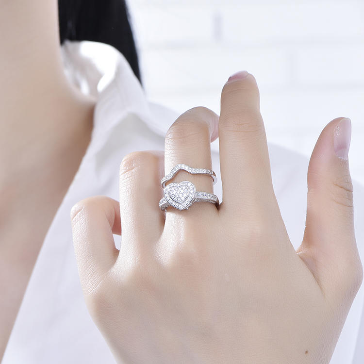 Fashion  New Luxury Lovely Heart Set Ring Female Wedding Engagement Jewelry For Woman