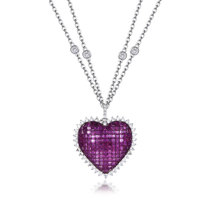 The latest fashion invisible heart necklace sapphire blue stone pendant