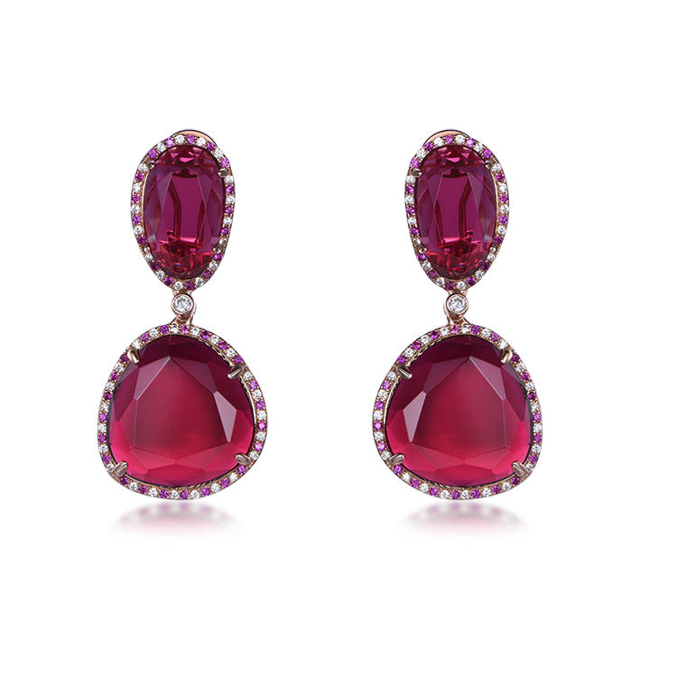 Charming Water Drop Filled Cubic Zircon Red Crystal Stone Drop Earrings For Women