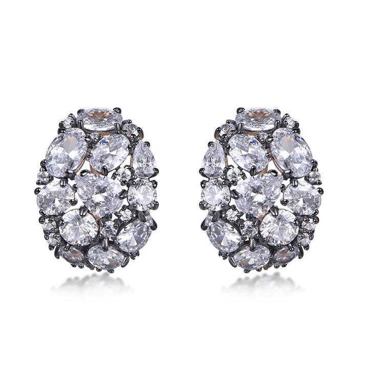 New Style Luxury Zircon Shine Big Stub Earrings Shine Bright Big Earrings