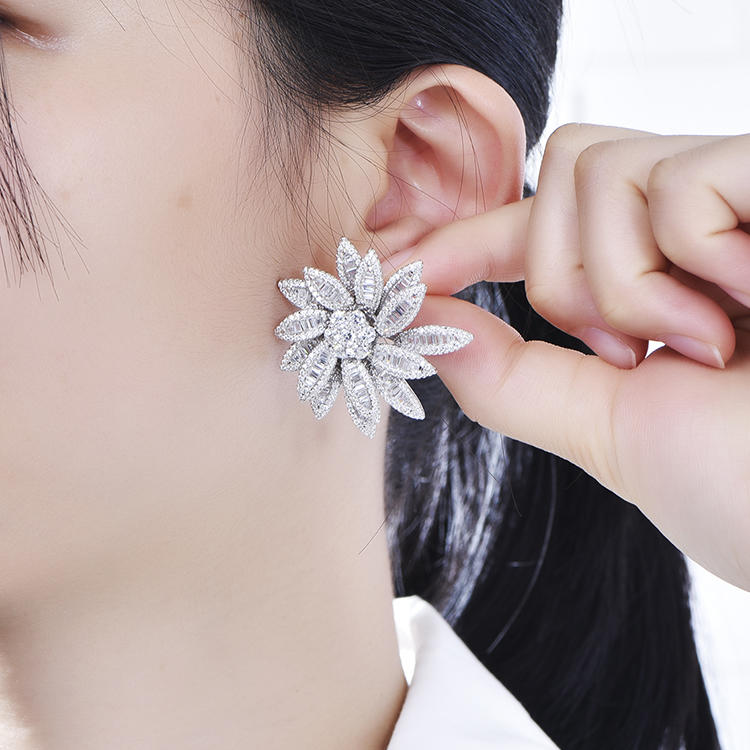 Refinement Big Flower Shape Pave Baguette Zircon White Gold Plated Female Earrings For Party