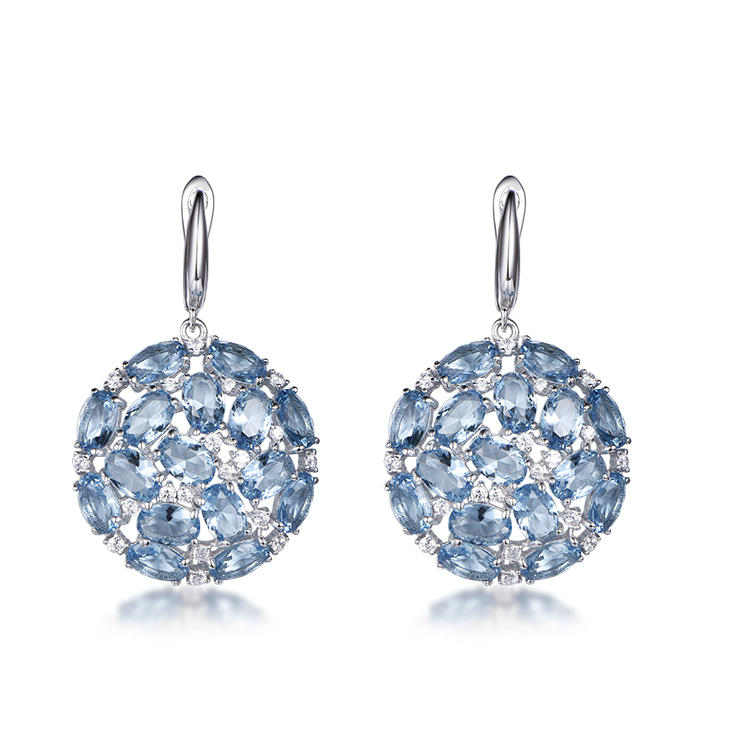 Manufacturer of high quality fashionable blue crystal round earrings