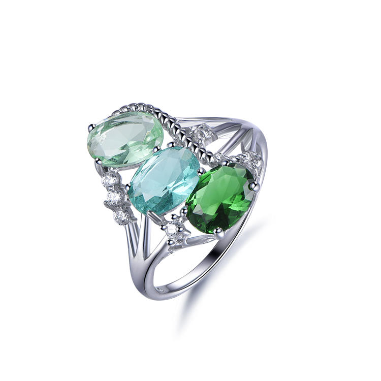 Noble 925 Sterling Silver Cocktail Three-Stone Ring For Women