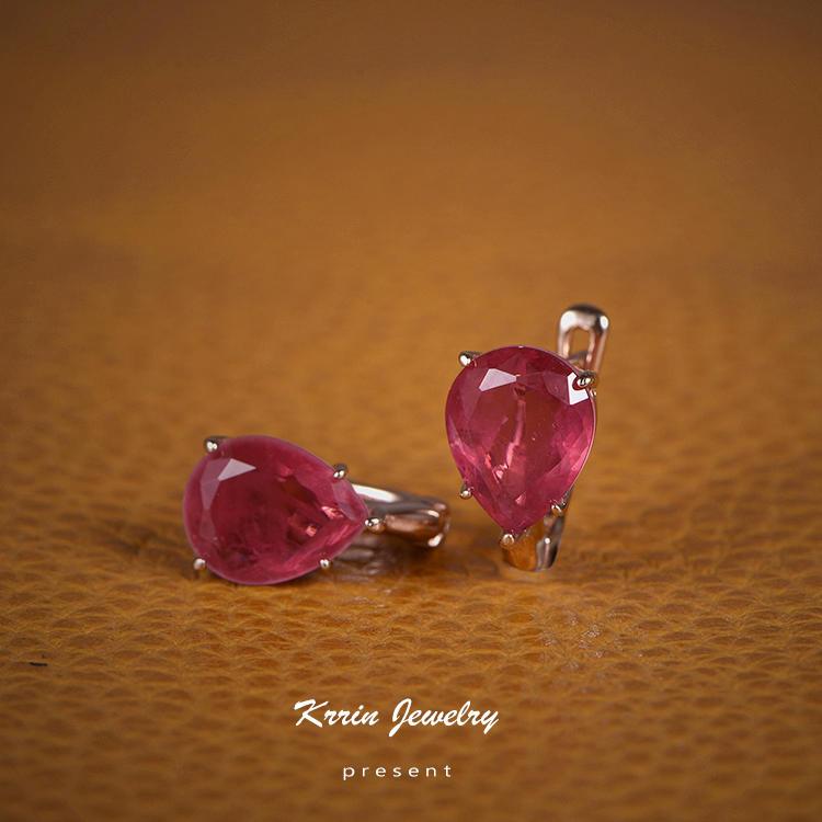 Wholesale Fancy Ruby Earrings Water Drop Female Stud Earrings