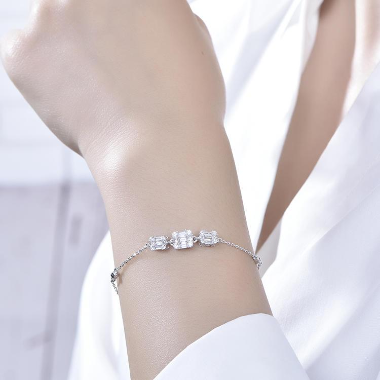 New European Concise Style Zircon 925 Sterling Silver Bracelets
