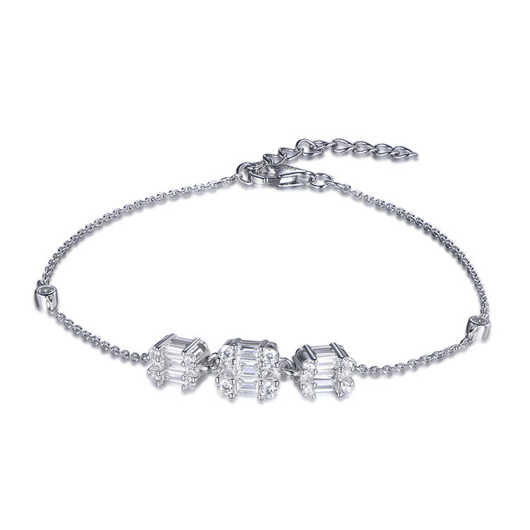 New European Concise Style Zircon 925 Sterling Silver Bracelets