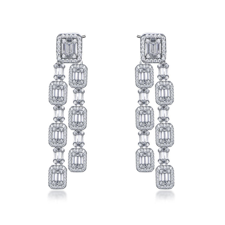 Best Selling Baguette Long Tassels Elegance Earrings S925 Silver Tassels