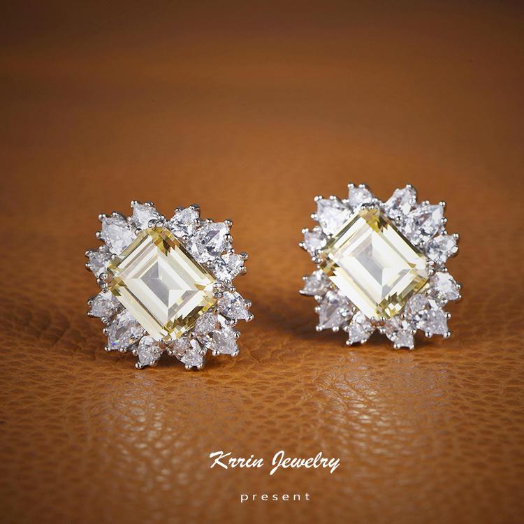 Fashionable Elegant Big Stone Women's Earrings Square Stud Party Eye-Catching Earrings
