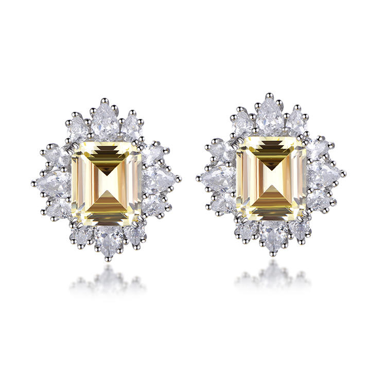 Fashionable Elegant Big Stone Women's Earrings Square Stud Party Eye-Catching Earrings