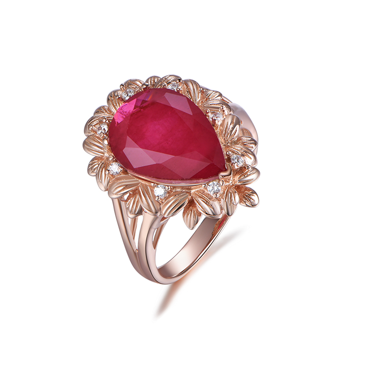 product-Kirin -Hot Sale 925 Sterling Silver Rings Retro Red Gem Water Drop Ring-img