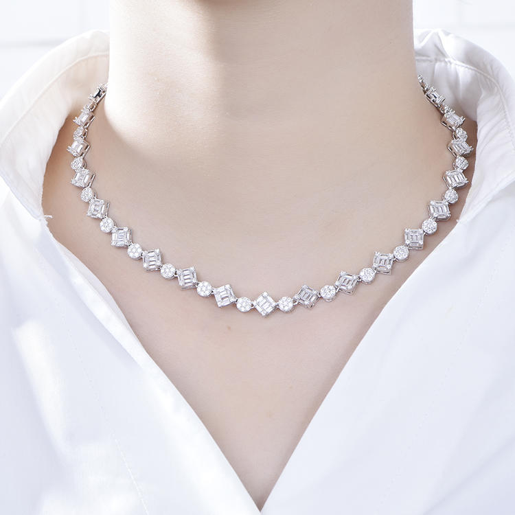 Minimalist 925 sterling silver cubic zirconia chain jewelry neck necklace for women